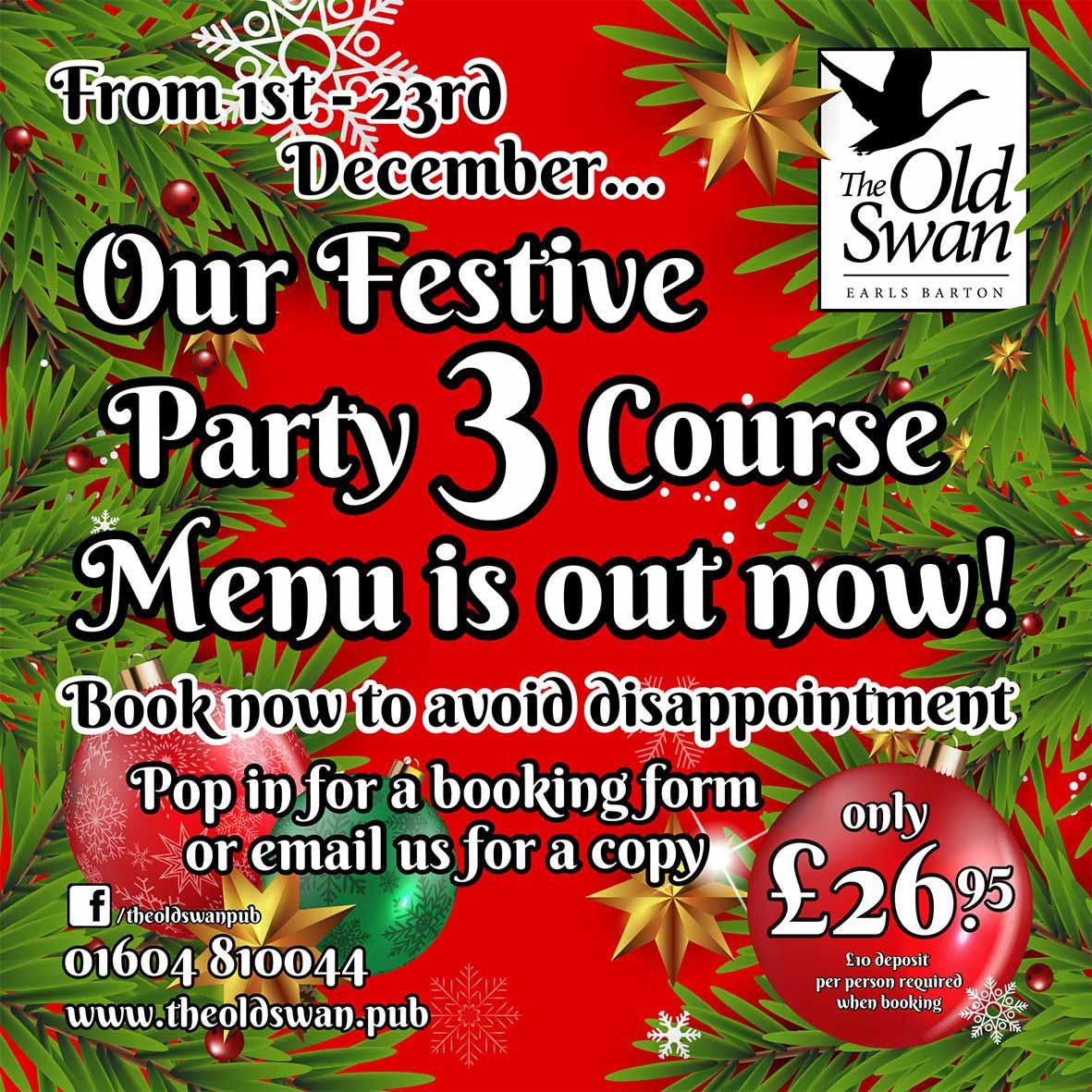 Festive Party 3 course Menu